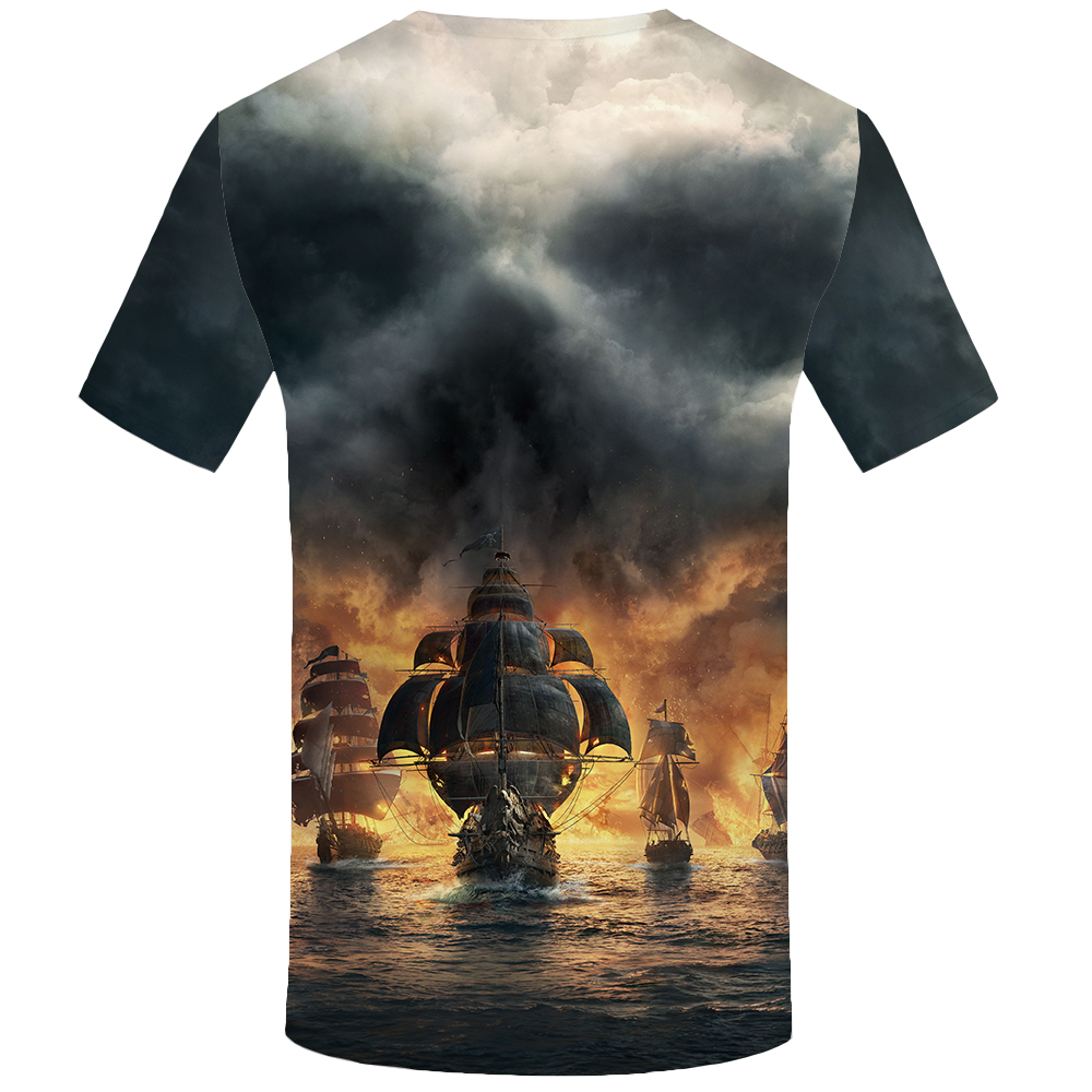 Funny T Shirts Skull T Shirt Men Flame Shirt Print Ferry Anime Clothes War Tshirt Printed Ocean T-Shirts 3d Short Sleeve Summer