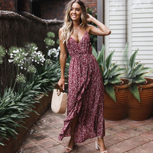 Sexy Deep V-Neck Backless Women Dress Long Floral Sling Ruffles Dress For Female Bohemia 2019 Summer Casual Beach Style Clothes цена