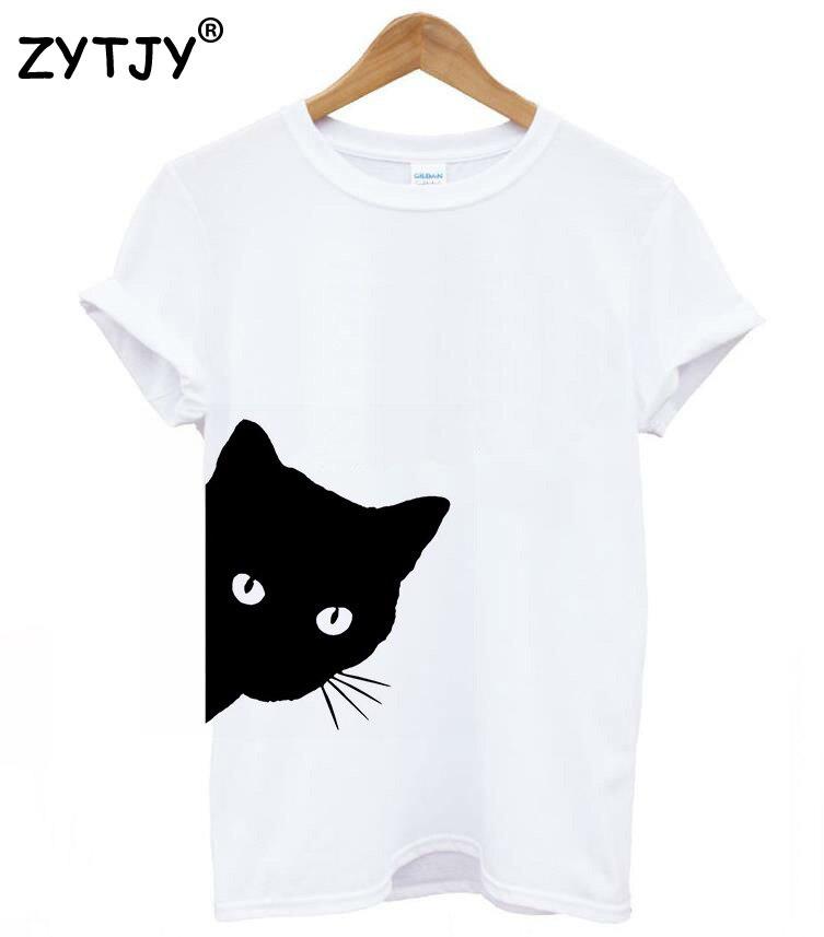 Camiseta divertida Casual de algodón con estampado para mujer lateral de gato mirando hacia fuera para mujer camiseta para mujer chica Top Hipster Tumblr Drop Ship Z-1056