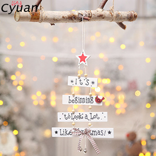 Cyuan 1Set Christmas Wooden Hanging Decoration Letter Wood Xmas ...