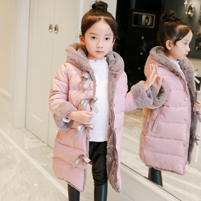 Bowtie Girls Winter Coat Long Quilted Jacket Fashion Children Outfit Size 8 10 12 Roupas Infantis Menina Warm Parkas Kids Coat цена