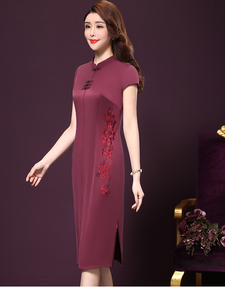 Plus size 4XL Chinese Style High-End Silk Vintage Embroidered Summer Dress Women Collar Short-Sleeve One-Step Dress female P168 8