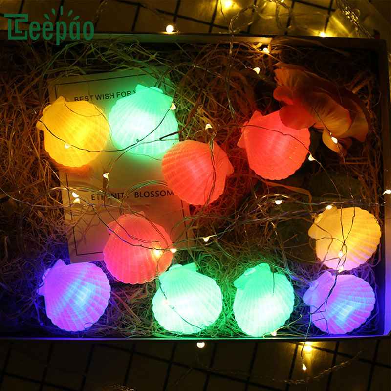 new led string lights 20 led seashell light string lamp battery operated decoration light for christmas party wedding festival in lighting strings from