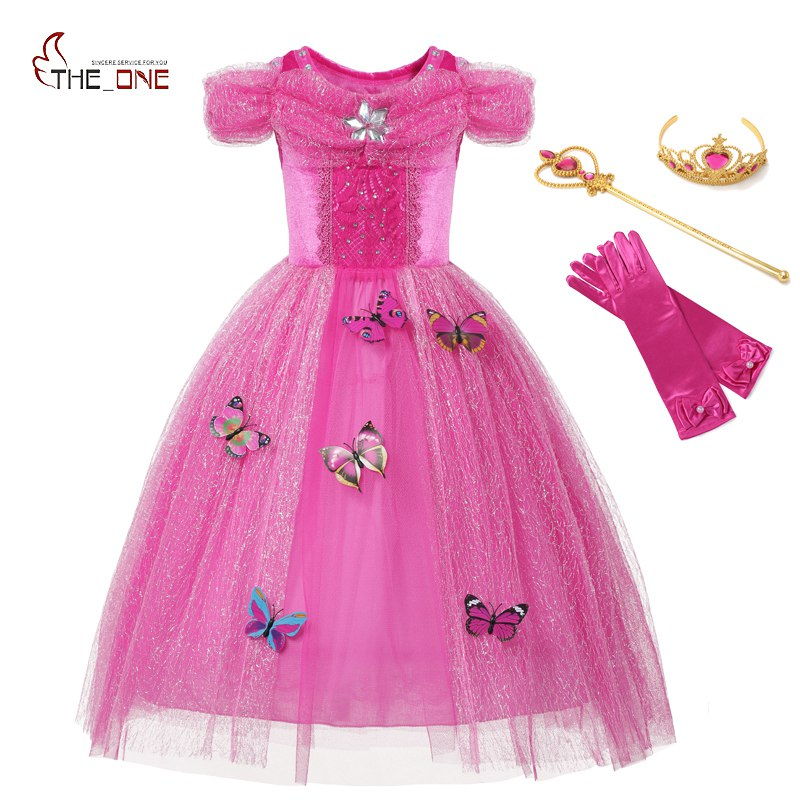 MUABABY Girls Cinderella Costume 4 Colors Kids Belle Princess Halloween Birthday Pageant Party Dresses with 10 Butterflies high quality cinderella butterflies costume girls summer kids wedding dresses children performance maxi princess dress