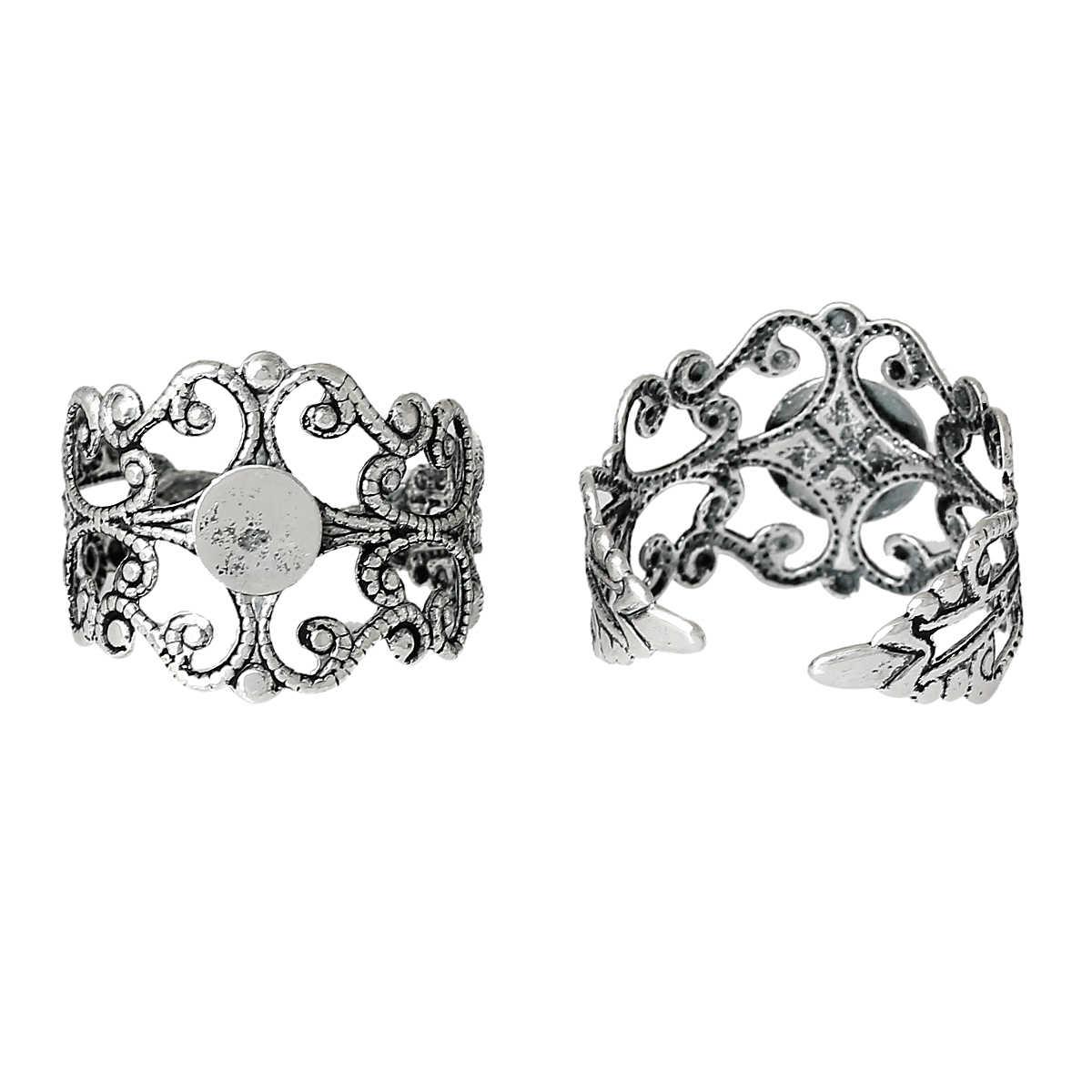 """ทองแดงแหวนดอกไม้เงินโบราณ Cabochon การตั้งค่า (6 มม.) 18.7 มม.(6/8 """") (US) 1 ชิ้น New"""