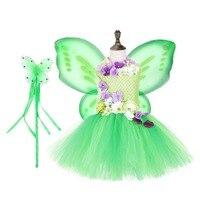 Green Princess Custom Fairy Tinkerbell Tutu Dress Girls Clothing Christmas Dress for Kids Flower Sleeveless Birthday Party Dress