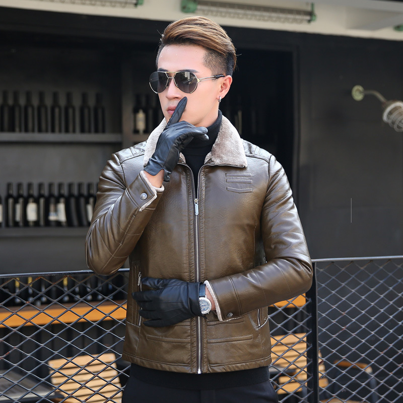 Cuero de los hombres de moda casual más terciopelo grueso invierno de mediana edad hombres de cuero breve párrafo chaqueta de cuero solapas 2019 - 5
