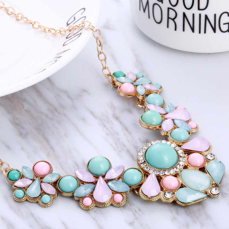 Hesiod Blue Pink Rhinestone Necklaces Pendant Boho Statement Necklace Gold Color Vintage Pendant Lady Dress Choker Necklace