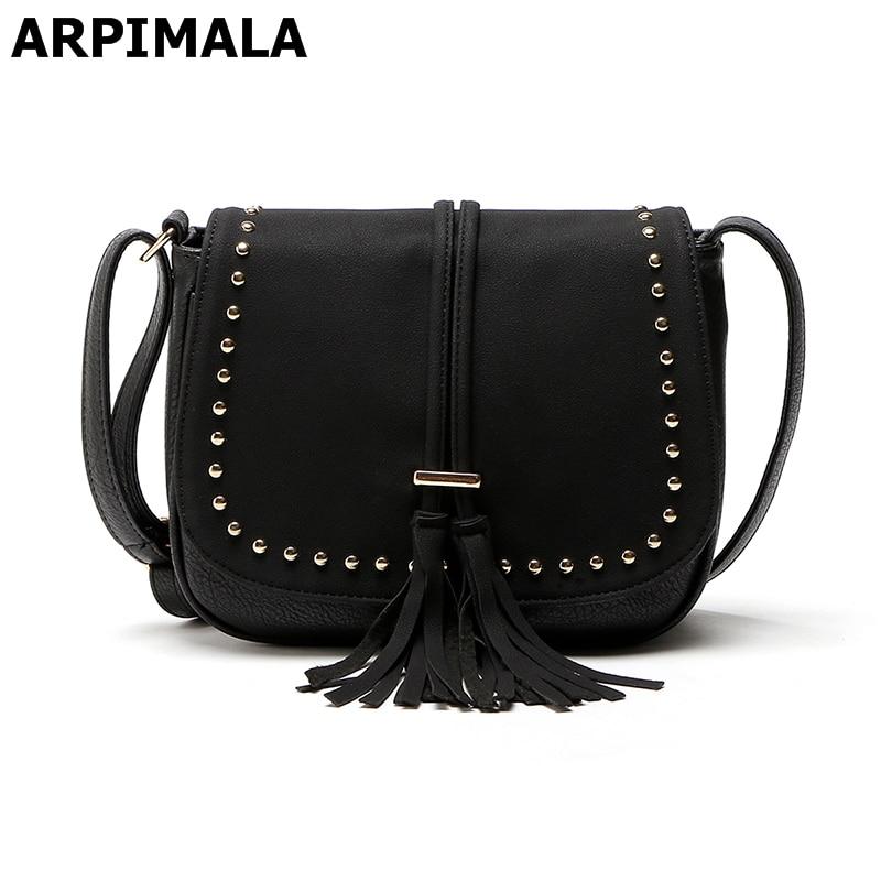 Detail Feedback Questions about ARPIMALA Nubuck Leather Handbags Vintage Stud  Women Messenger Bags High Quality Tassel Crossbody Bag for Women Designer  ... a524444bf76e