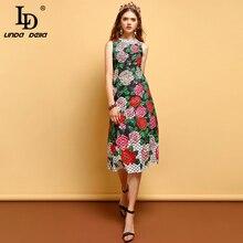 LD LINDA DELLA New 2019 Summer Fashion Dress Womens Sleeveless Beading Floral Printed Elegant Vintage Ladies Vacation Dresses