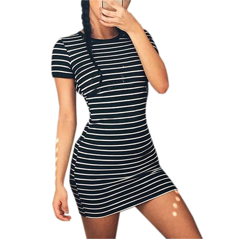 Sundress Summer Dress Women 2018 Short Sleeve Casual Striped Beach Dress Stretch Sexy Party Dresses Bodycon Robe Mujer Lx313 in Dresses from Women 39 s Clothing