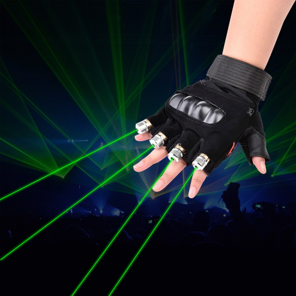Free Shipping Green Red Laser Gloves With 4pcs Lasers LED Stage Palm Gloves Luminous Lights For DJ Club dance Bar Party Show