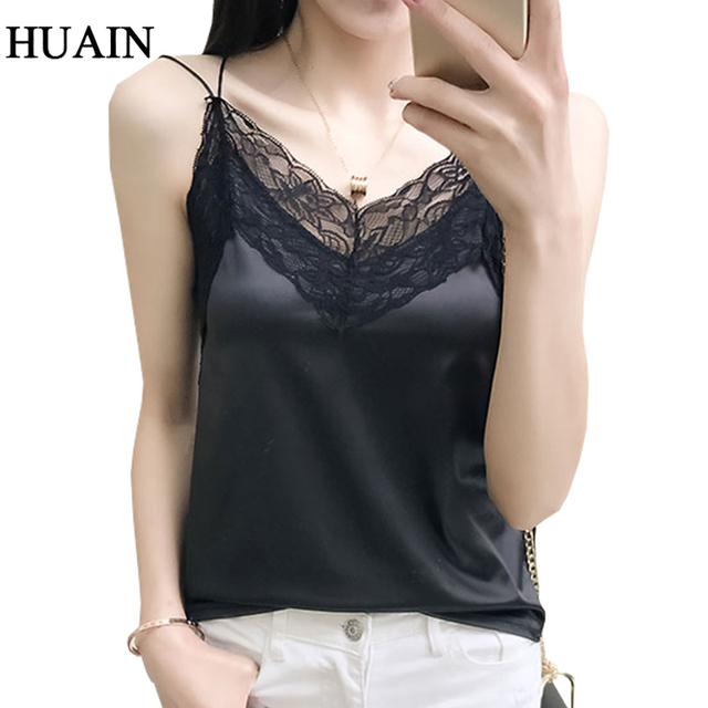 f048af8e1dd217 Sexy Lace Satin Tank Tops Women Fitness V-Neck Sleeveless Shirt Camisole  2018 Female Camis