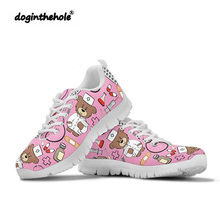 Doginthehole Cartoon Bear Nurse Shoes Printing Walking Women Outdoor Sports Ladies Casual Sneakers Breathable Mesh