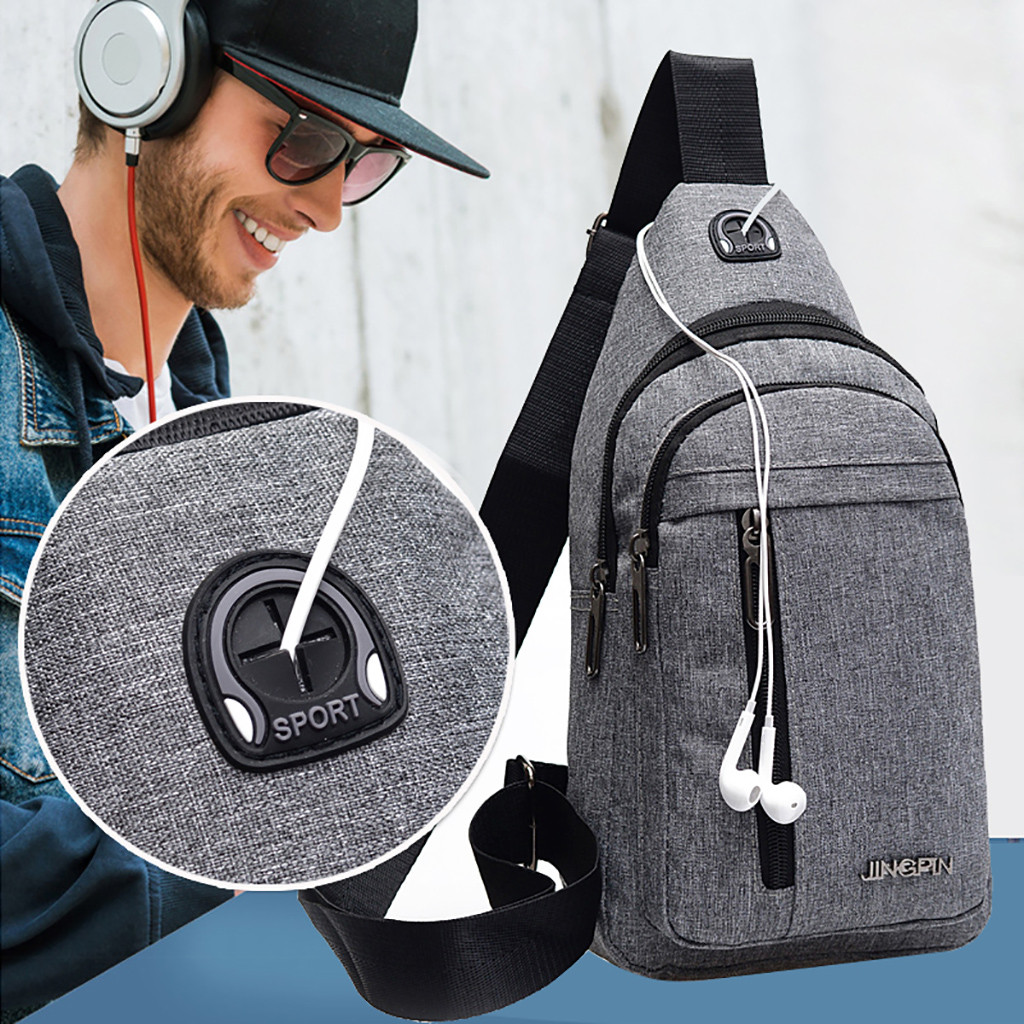 2019 New sac homme Men Small Bag Wild Messenger Bag Fashion One Shoulder Plaid Chest Bag bandolera hombre /0.7(China)