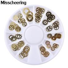 1 pcs nouveau 3d or métal Nail Art autocollant décoration roue Ultra-mince vapeur Punk pièces conceptions bricolage ongles accessoires