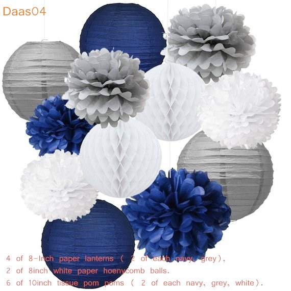 12PCS Mixed Navy Blue Grey White Party Tissue Pompoms Flower Hanging Paper Lantern Honeycomb Balls Nautical Themed Party Decorat