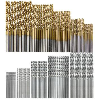 50pcs 100pcs 1 3mm titanium coated twist drill bit high steel for woodworking aluminium alloy angle iron plastic drill bit set 100 Pcs/Set Titanium Coated Twist Drill Bit High Speed Steel Hole Opener Woodworking Metal Plastic Tools Electric Drill