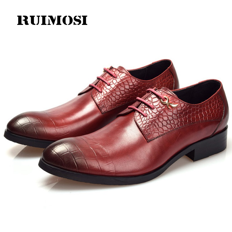 RUIMOSI New Arrival Man Derby Shoes Genuine Leather Derby Wedding Oxfords Formal Dress Round Toe Lace up Men's Bridal Flats BH63