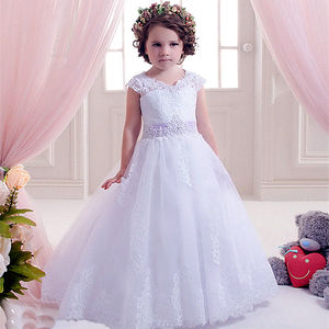 Flower Girl Dresses For Wedding Sleeveless Lace AppliqueGirl O-Neck Tulle Formal Gown Kids First Communion Party Dresses