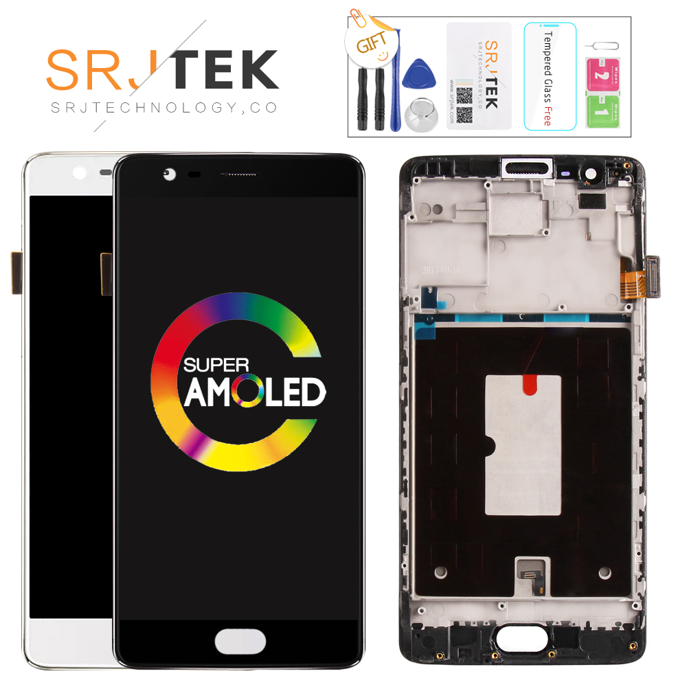 AMOLED 5.5'' Original For Oneplus 3T LCD Display Touch Screen with Frame LCD for One Plus 3T Display Replacement A3010 A300