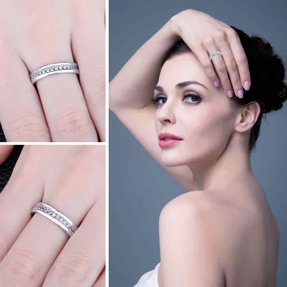 Jewelrypalace CZ Pernikahan Cincin 925 Sterling Silver Cincin untuk Wanita Stackable Anniversary Cincin Keabadian Band Perak 925 Perhiasan