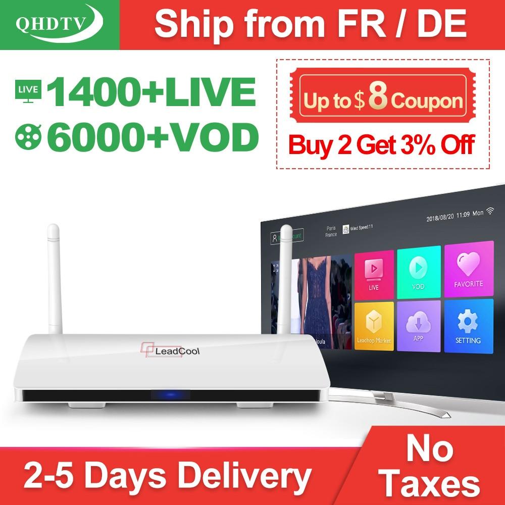 Leadcool QHDTV 1 Anno IPTV Francia Arabo RK3229 Android 7.1 1 + 8G Scatola del IPTV Paesi Bassi Belgio Italia QHDTV abbonamento IP TV Box