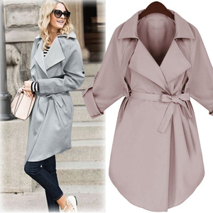 Image 1 - LANMREM 2020 Spring New Fashion Casual Women Long Coat Solid Color Loose Large Size Belt Windbreaker TC113