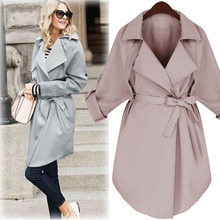 LANMREM 2020 אביב חדש אופנה מזדמן נשים ארוך מעיל מוצק צבע רופף גדול גודל חגורת מעיל רוח TC113