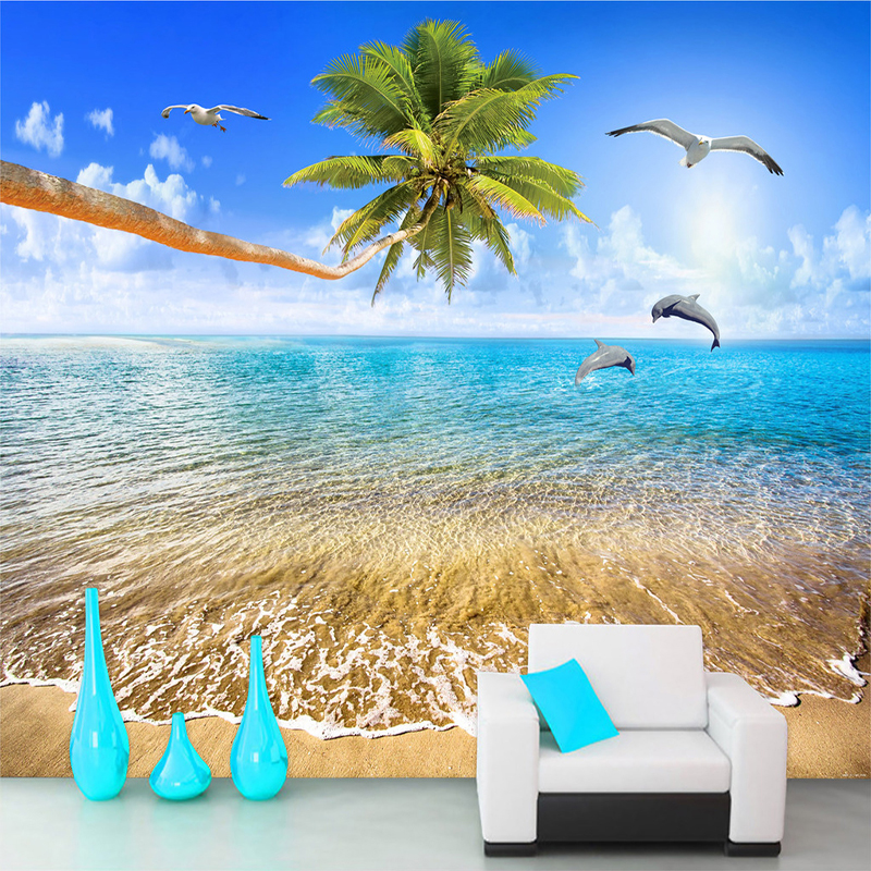 Custom Mural Wallpaper Sea View Beach Coconut Trees Dolphin Photo Background Wall Painting Living Room 3D Wall Murals  Wallpaper spring abundant flowers rich large mural wallpaper living room bedroom wallpaper painting tv background wall 3d wallpaper
