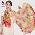 Senhoras nova Primavera Outono Lenço De Seda Pura Acessórios Projeto de Longo Rosa de Inverno Cachecóis Wraps Mulheres Digital Injket Sombrinha Xale