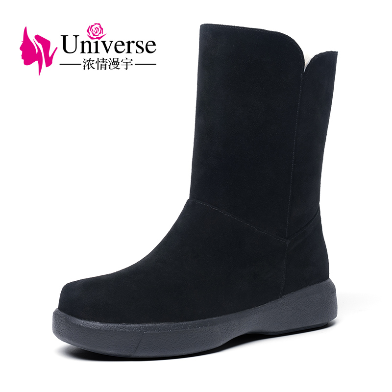 все цены на Universe warm thick wool lining snow boots sweet rubber suede upper slip-on winter boots women shoes flat mid calf boots G415