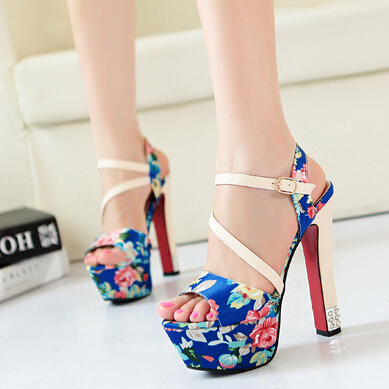 Free Shipping,Fashion Peony Floral #839 High Heel Sandals,US 4-8.5,Womens/Ladies Shoes