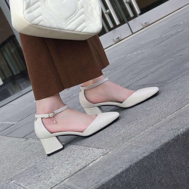 ZVQ newest shallow buckle concise square toe genuine cow leather pumps skid resistance med thick heels shoes large size