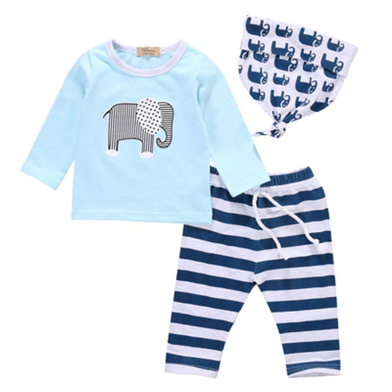 Baby Boy Set Elephant Long Sleeve+Stripe Pants+Cartoon Headband Toddler Boys Clothing An ...