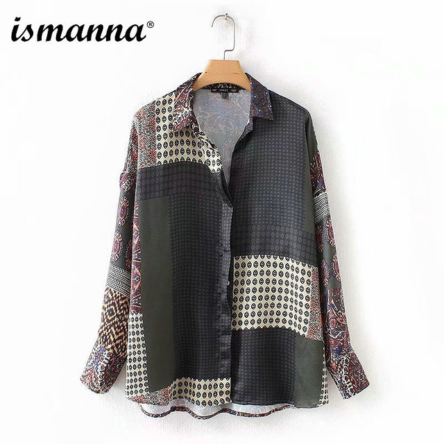 2018 New Autumn Women Vintage Floral Patchwork Blouse Long Sleeve Turn Down Collar Pleated Shirts Female Casual Chic Loose Tops
