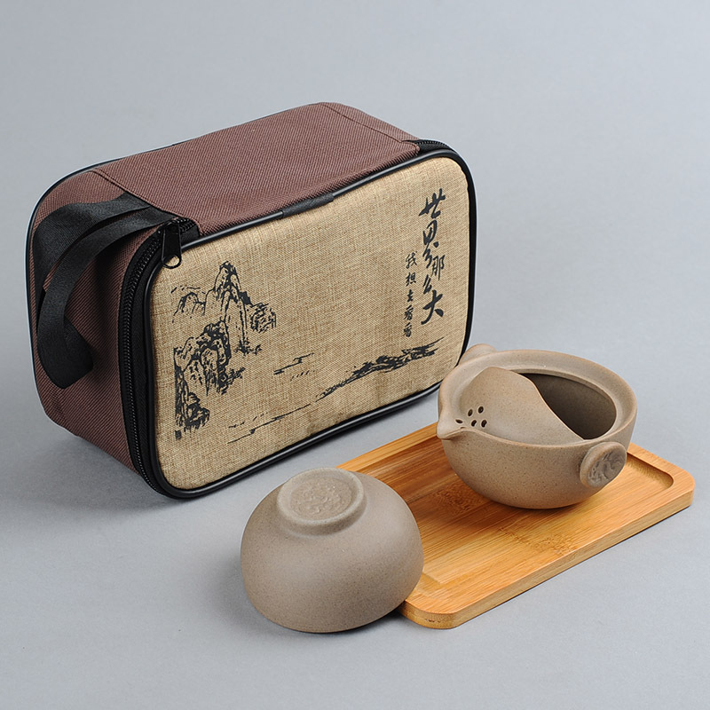 Travel Chinese Kung Fu Tea Set Portable Ceramic Gongfu Gaiwan Tea For One Teapot Set Outdoor Ceremony Teacup