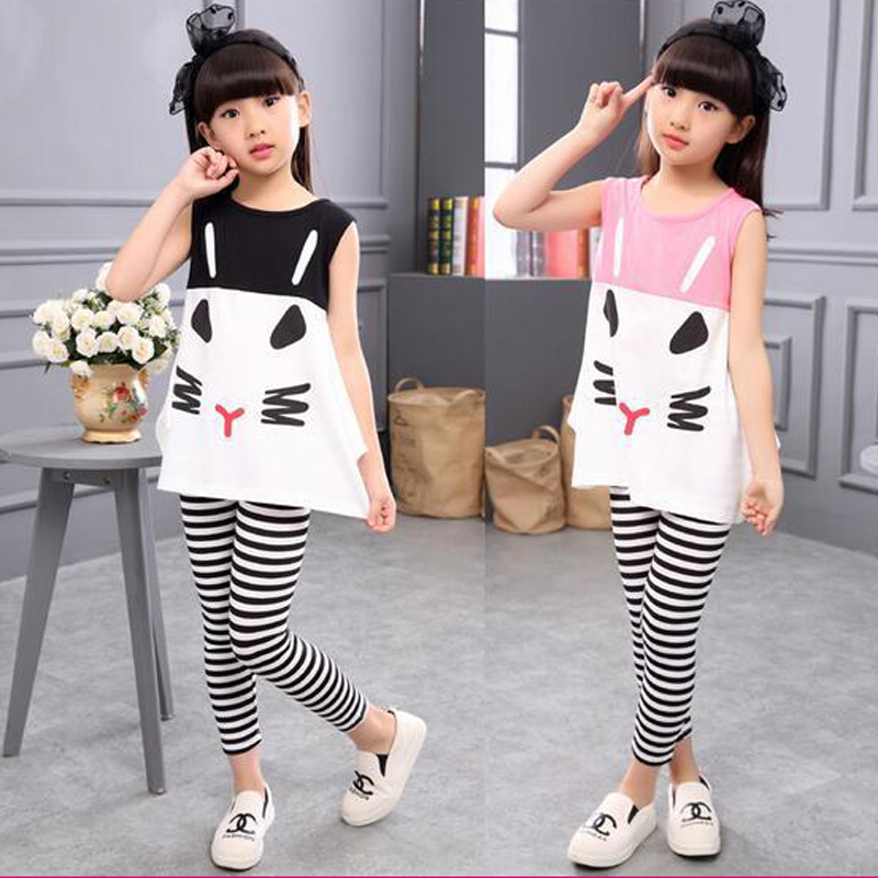 3 4 5 6 7 8 9 10 Year Children Clothing Cartoon Vest Stripe Legging 2pcs Girls Suits Cotton Summer Kids Clothes for Girls spin master кукла со светом и звуком пози 20 см маленькие волшебницы spin master