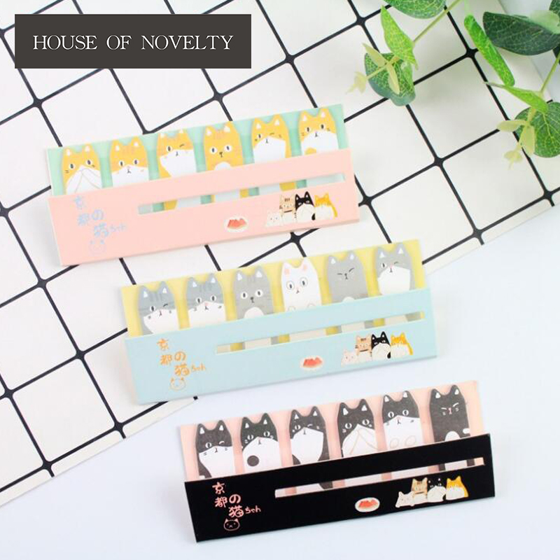 Kyoto Cat Self-Adhesive N Times Memo Pad Sticky Notes Bookmark School Office Supply sweet black cat and little carton shape sticky notes