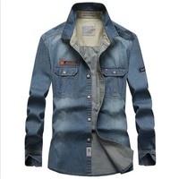 Cowboyshirt Mens Leisure Cowboy Shirt Full Sleeve Denim Shirts Plus Size XXXXL Denim Blue Man's Shirt Tops
