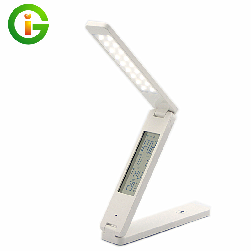 Folding LED table lamp Led rechargeable desk lamp eye protection mini portable LED light With Calendar alarm colck