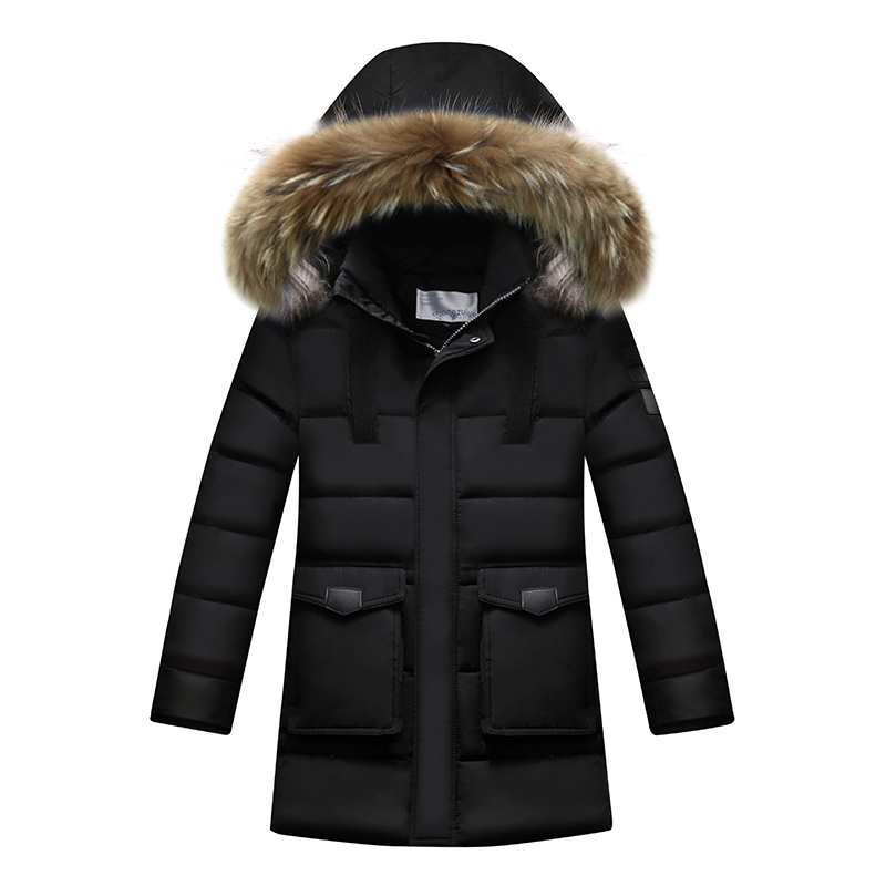 2017 Boys Winter Down Jackets Fur Collar Hooded Toddler Boys Winter Coats Childrens Long Duck Down Jackets Kids Outerwear 13 14 100% white duck down women coat fashion solid hooded fox fur detachable collar winter coats elegant long down coats