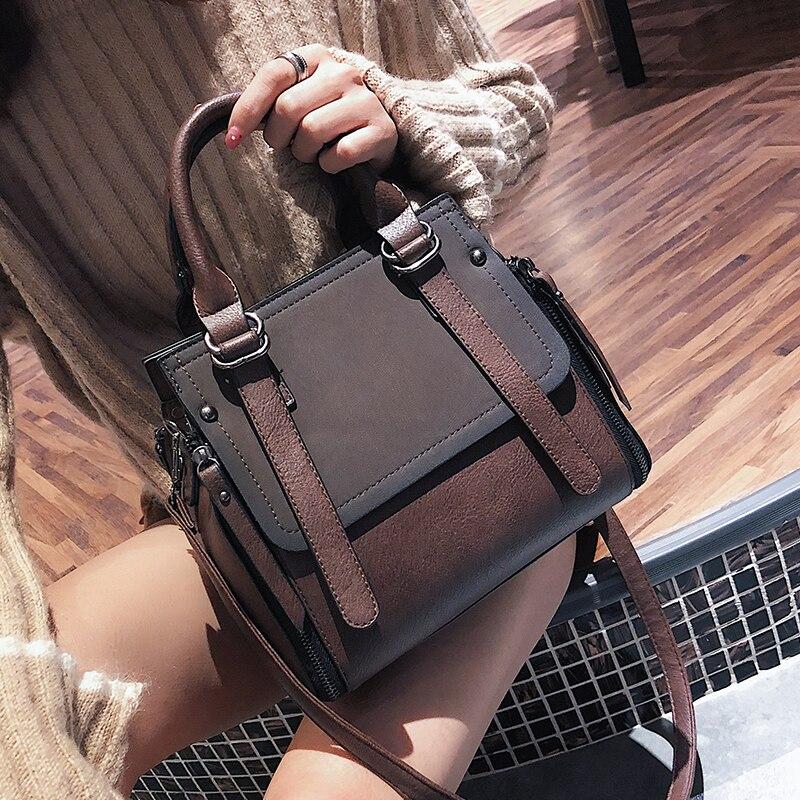 Izquierdo Vintage nuevo bolsos para mujeres 2018 mujeres de cuero de la marca de alta calidad bolsas pequeñas de señora bolsos de hombro Casual