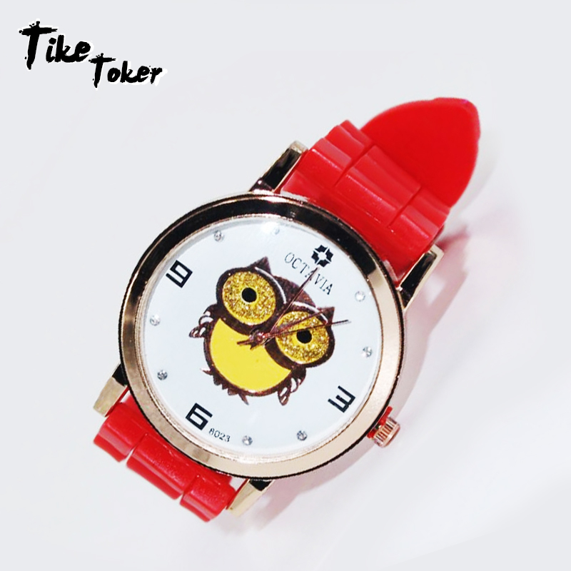 TIke Toker,Fashion Women Girl Gold Owl Pattern WristWatch Female Silicone Clock Montre Femme Casual Quartz Watches Relogio 2018