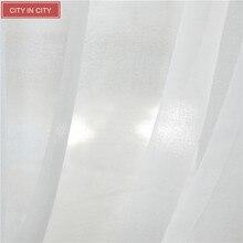 CITYINCITY Japón estilo Suave Voile Blanco Laxu Luz de Lino Tela Transparente Para la Cocina Y el Salón Cortinas de la Ventana Personalizada