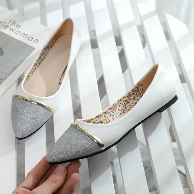 Paillettes Silver En Chaussures Plat Pointu Simples Cuir White white allumette Bout De Femmes Tout Gold black Gold n1XTwSqx