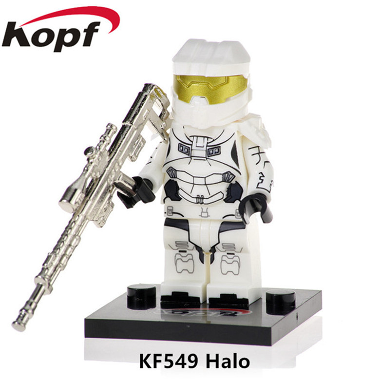 50Pcs KF549 Building Blocks Halo Spartan Solider Warrior With Real Metal Weapon Figures Bricks Collection For Children Gift Toy(China)