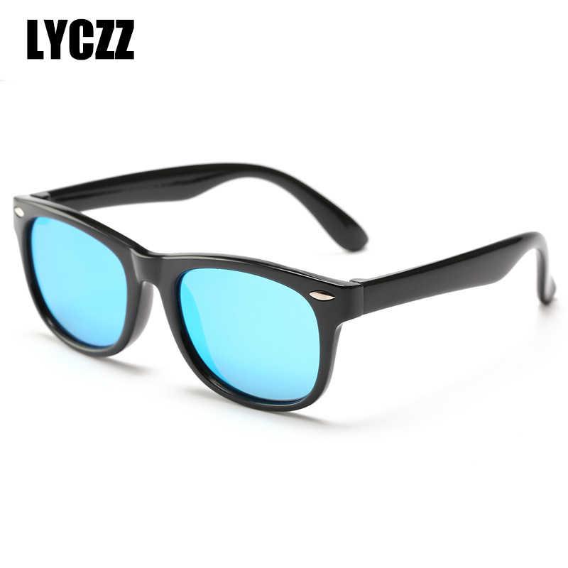 LYCZZ Crianças Óculos Polarizados Óculos de Sol Revestimento de Espelho Óculos de Segurança Flexível Quadro Shades Eyewear Com Caso Marca 2019 Novos Gafas