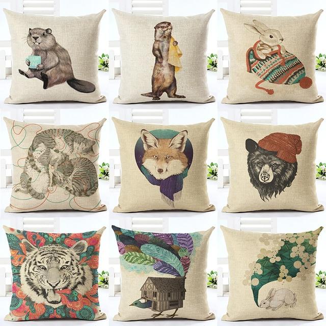 Newest Design Cartoon Rac Throw Pillow Cushion Cover Home Decor Printed Linen Pillowcase