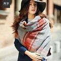 Леди Весна и Осень Теплые Шарфы Женщин Корейской Шерстяную Шаль Шарф Женщины Британский Сетки Увеличение Двойной Теплые Шарфы B-4612